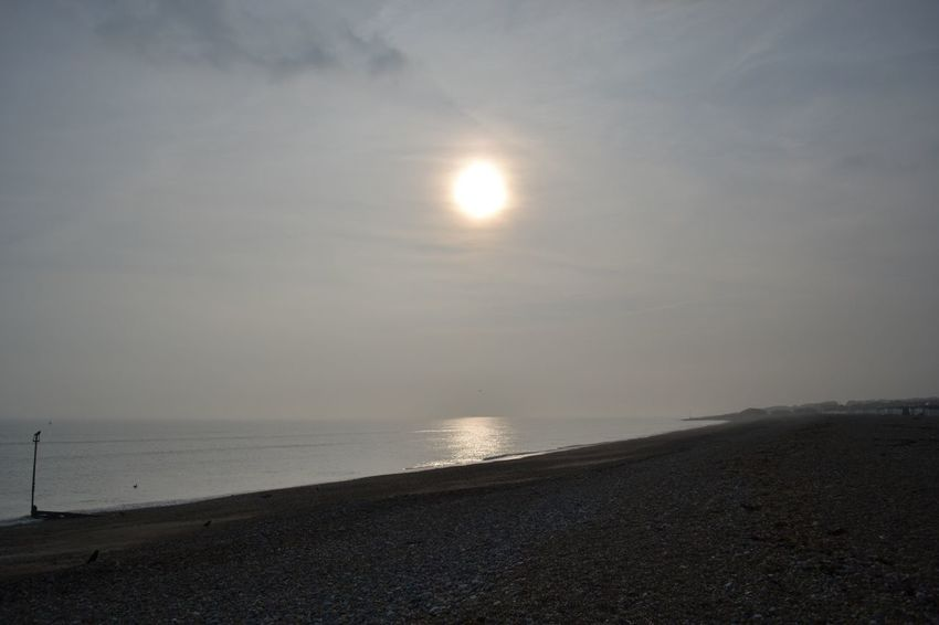 Sun Sea Beach Horizon Over Water No People Goring By Sea Sussex Coast
