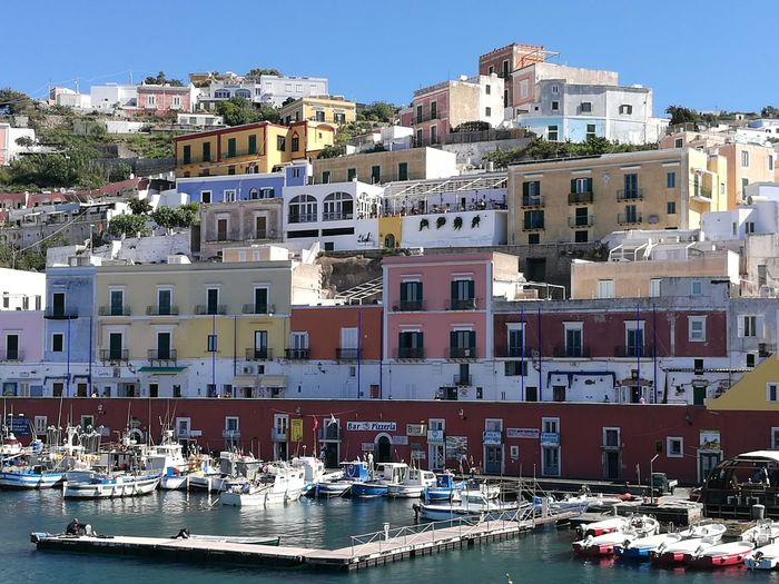 Colored houses of the port of Ponza in Italy Architecture Sea Water Sky Holiday Tourism Day Cityscape Springtime Docks Vacations Boats And Water Italy❤️ Sunnyday☀️ Colored Houses Travel Destinations Multi Colored Nautical Vessel Perched Village Blue Clear Sky Ponza Island Colored Village Port Of Ponza