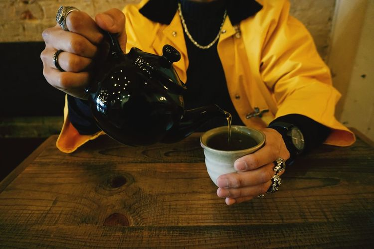 tea Yellow Coffeeshop TeaCup Tea Relax Yellowcoat Green Color Human Hand Drink Tea - Hot Drink Holding Men Sitting Close-up Food And Drink