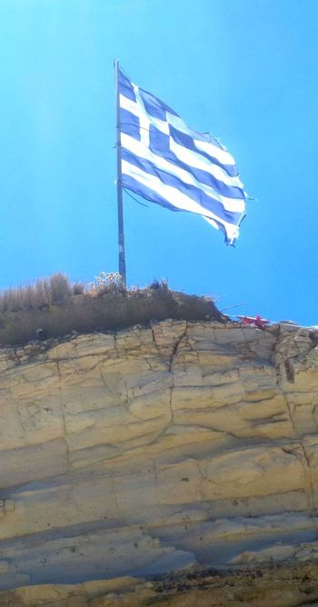 Blue Clear Sky Day Flag Flag Pole Greece Greece Flag Landscape Low Angle View Nature No People Outdoors Patriotism Sky Stars And Stripes