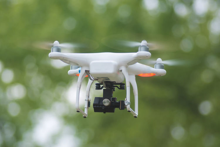 Close-up of drone camera