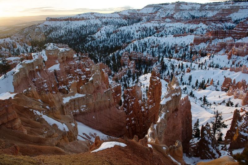 Scenics Nature Beauty In Nature Winter Tranquil Scene Physical Geography Sunrise Bryce Canyon Landscape Tranquility Snow Outdoors Extreme Terrain Cold Temperature Mountain Day Sky