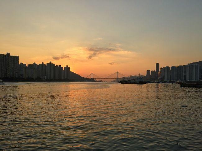 Hong Kong Tsuen Wan Sunset Sky Cityscape Nature Skyscraper Sea
