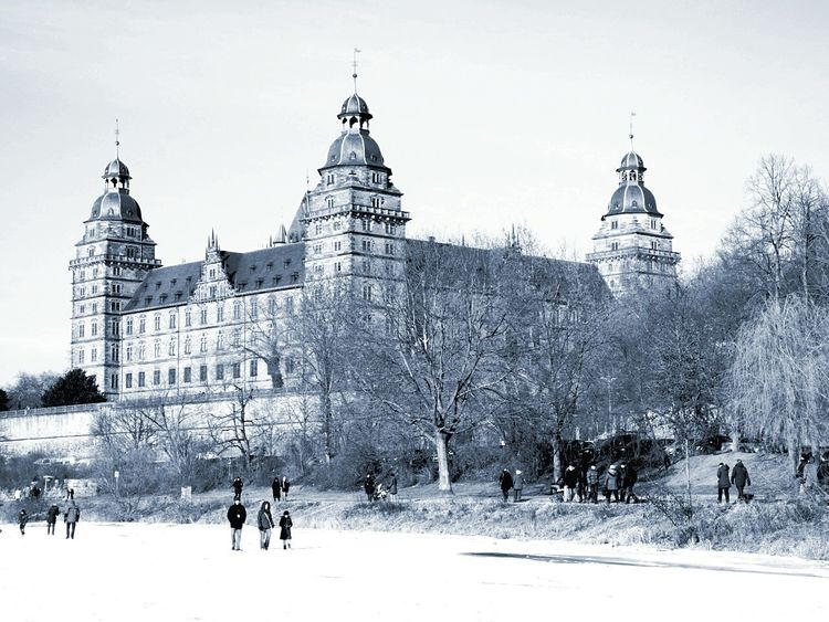 Last year's snow in Franconia Cold Temperature Snow Travel Destinations Architecture Winter Castle People Day Aschaffenburg Germany Renaissance Architecture 16th Century Ice Main River Frozen River Black And White