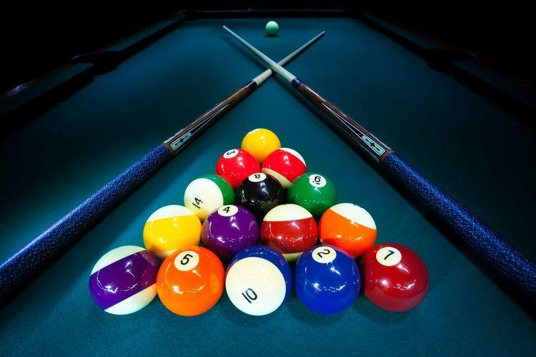 High Angle View Of Pool Table
