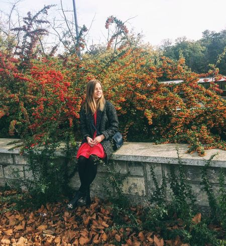 Autumn Nature Young Women Red Long Hair Outdoors Love Yourself One Person Young Adult Day Tree Leaf Full Length Smiling Leisure Activity Real People Happiness Plant Lifestyles Growth Love Yourself