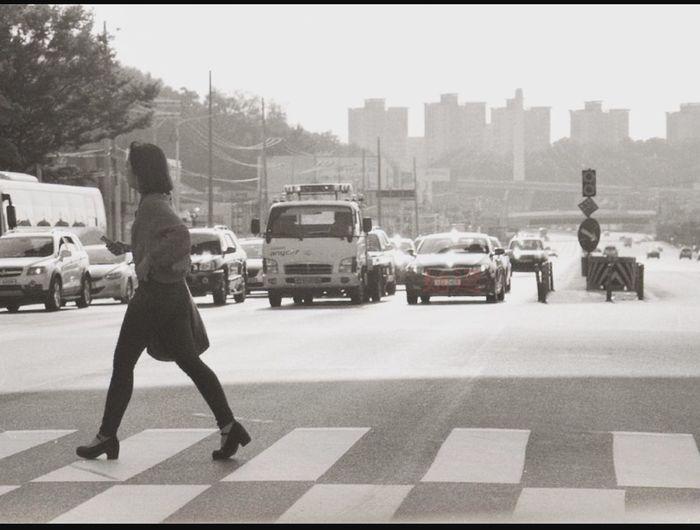 횡단보도를 건너다.. Crosswalk B&w Suwon Series Snap