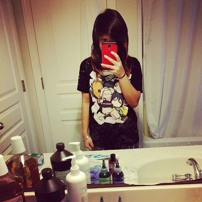 Awkward bathroom selfie~ Messy hair don't care. I rarely straighten it so sorry. I have a dentist appointment in like 10 minutes, yay. Selfie Awk  Imawkward Ew sorryimugly Naruto anime shirt emo hipster imhipster jk notreally