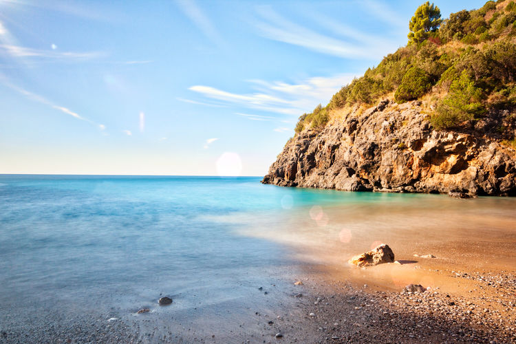 Lights at the sea Sea Beach Sand Nature Outdoors Scenics Beauty In Nature Water No People Horizon Over Water Sky Blue Landscape Tranquility Shoreline Coastline Seascape Seascape Photography Costa Cilentana Long Exposure