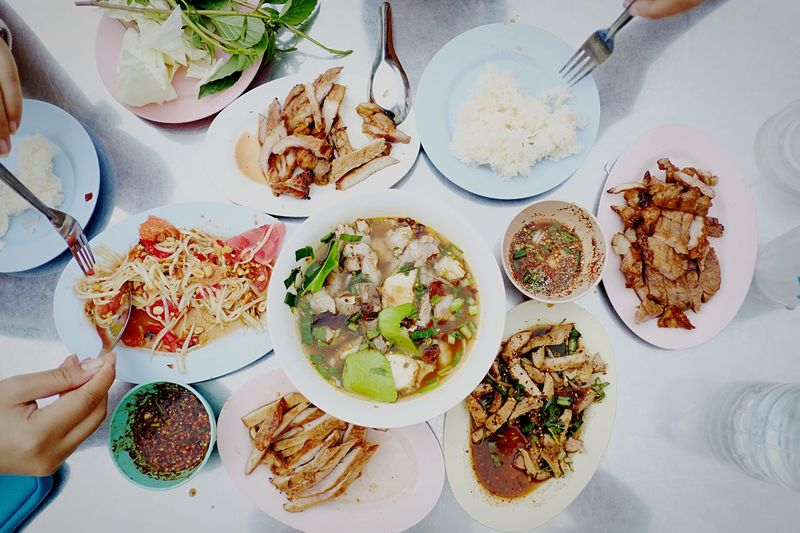 Street food Thaistyle Streetfood Thaifood Yummy Plate Food And Drink Table Food High Angle View Ready-to-eat Freshness Indoors  Serving Size Healthy Eating Wellbeing Directly Above Still Life Meal Kitchen Utensil Eating Utensil No People Household Equipment Bowl