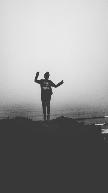 Silhouette Beach Water One Person Standing Outdoors Jumping Nature Day People Sky Sea Adventure Lifestyles Black And White Friday Peru Mystery One Woman Only One Young Woman Only Happiness Women Front View Cool Attitude Full Length EyeEm Ready   EyeEmNewHere