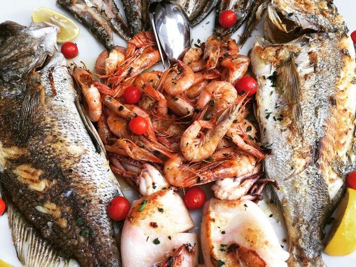 High angle view of seafood served on plate