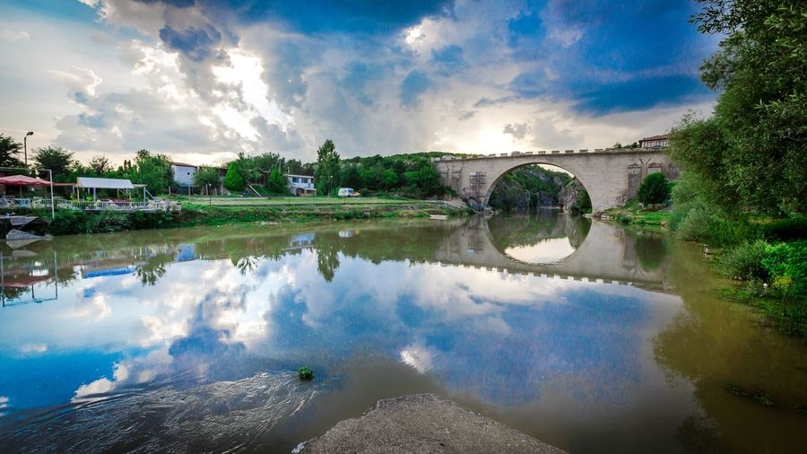 White Drin Canyon Cloud - Sky Bridge Kosovo Canonphotography Canon Reflection_collection Reflections In The Water Reflection Water Reflection Cloud - Sky Sky Tree Nature Plant Lake No People Beauty In Nature Scenics - Nature Architecture Outdoors Tranquility Day Arts Culture And Entertainment Transportation Travel Environment