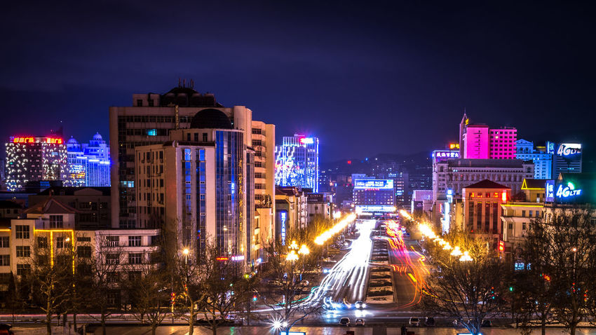 China China In My Eyes Blue Hour Colors EyeEm Best Shots Lights Long Exposure Shot Night Lights Panorama Architecture Building Exterior Built Structure City Cityscape Illuminated Light Trail Long Exposure Night No People Outdoors Road Sky Speed Street Street Light Urban Urban Skyline Mobility In Mega Cities Colour Your Horizn
