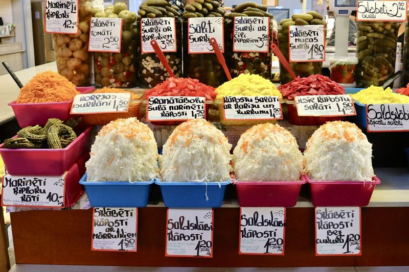 EyeEmNewHere Riga, Latvia Freshness Healthy Eating Market Stall Pickled Cabbage Preserved Foods Sauerkraut