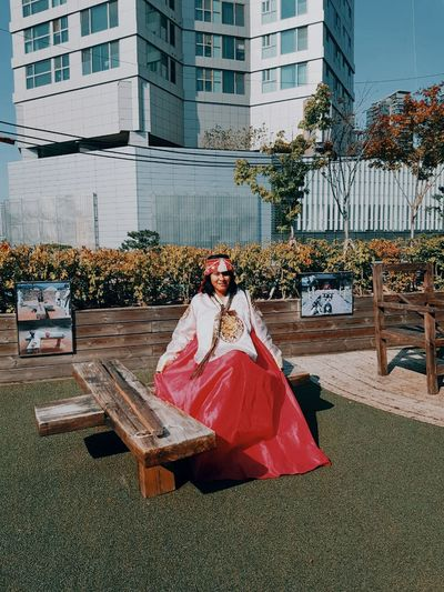 South Korea Hanbokkorea City Portrait Full Length Cityscape Disguise Tree Looking At Camera Architecture Sky Building Exterior