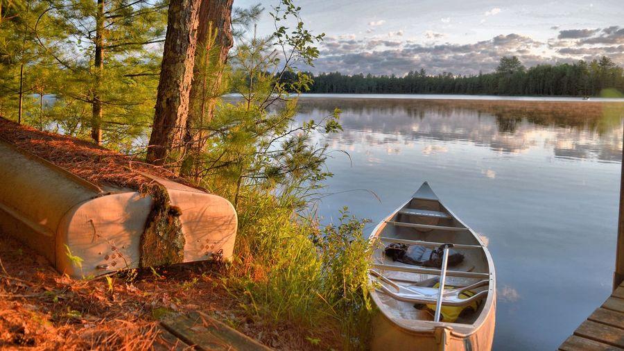 Boats at lakeshore