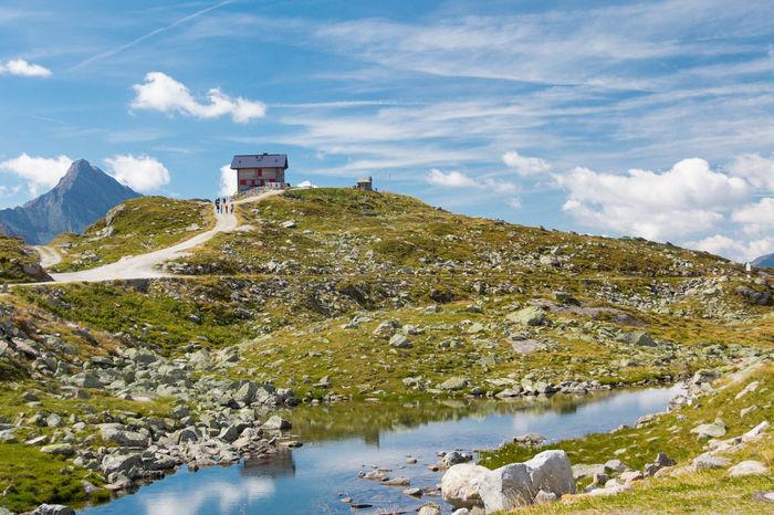 Pfitscher Joch Haus Alps Blue Blue Sky Green Joch Jochpass Summer Tux Water Sky Day Cloud - Sky Tirol  Stones Grass Tracking Mountain View Mountain Austria
