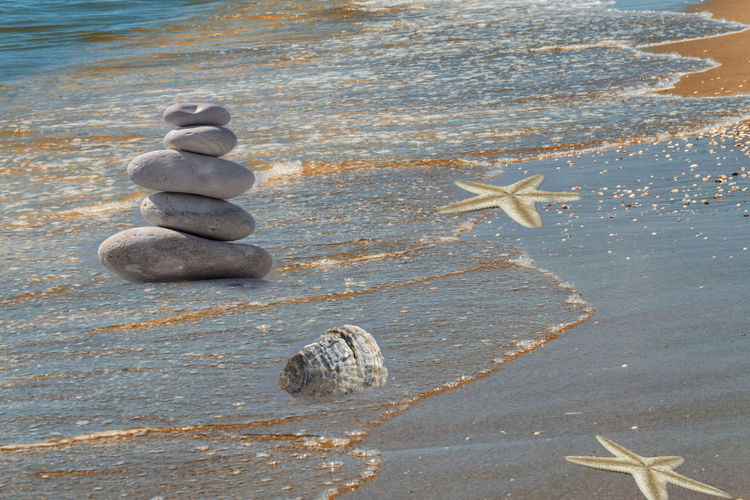 So-called strandgut on a sandy beach Balance Beach Close-up Day High Angle View Land Nature No People Pebble Rock Rock - Object Sea Solid Stack Starfish  Stone Stone - Object Tranquility Water Zen-like