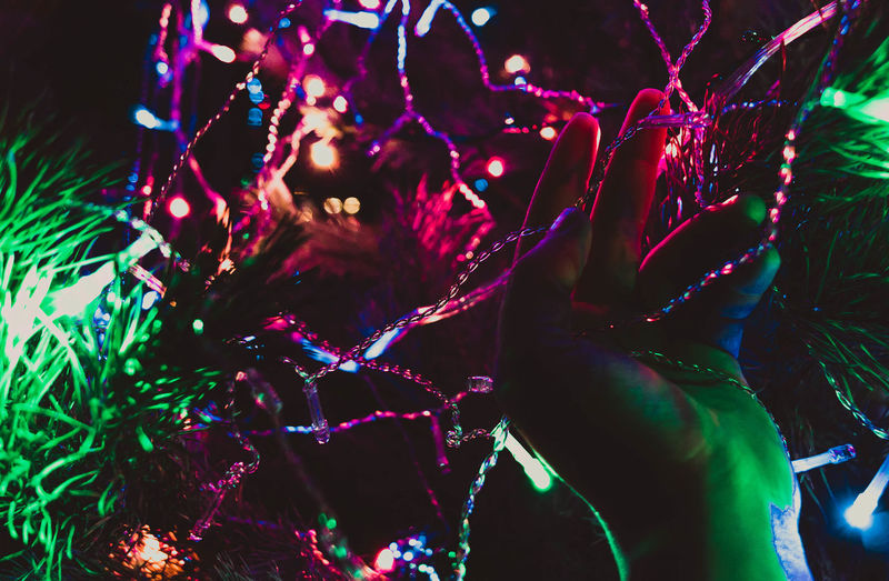 Garlands New Year Happy New Year 2018 Year Celebration Night Fun Multi Colored Outdoors Nightlife Adult Illuminated People