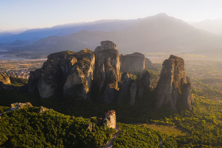 Roussanou Monastery is one of 6 remaining monasteries of Meteora. Week On Eyeem Meteora Greece Monastery Roussanou Kalambaka Dji Mavic 2 Pro Sunset Mountain Tranquil Scene Beauty In Nature Landscape Mountain Peak Physical Geography Outdoors Travel Aerial View Aerial Photography Dronephotography Drone  No People Rock - Object Travel Destinations Mountain Range A New Perspective On Life Capture Tomorrow