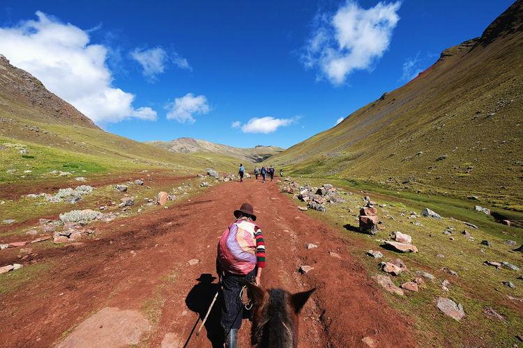 Journey to Rainbow Mountain Journey Rainbow Mountain Vinicunca Horse Riding Scenics Scenery Peru Mountain Riding Adventure Sky Landscape Cloud - Sky Mountain Road Winding Road