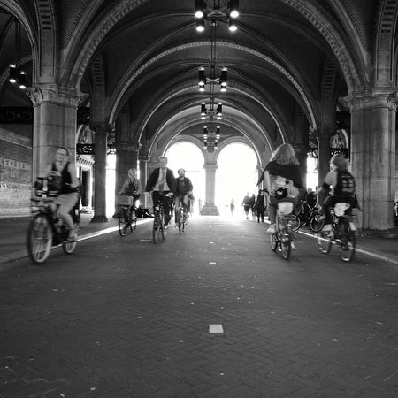Architecture Built Structure Indoors  Day Men Real People City Amsterdamrijkmuseum Amsterdam Bikes Velos Lifestyles B&w Street Photography
