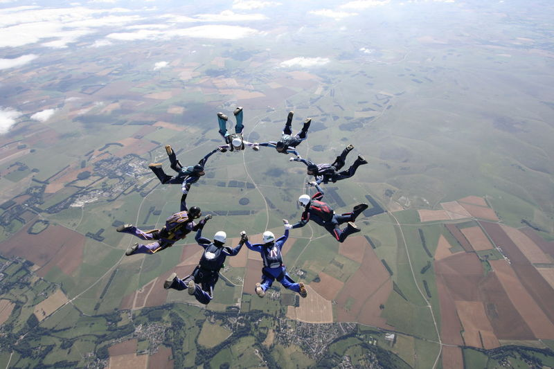 Adventure Bigways Clouds Extreme Sports Flying Formation Flying Formation Skydiving Freedom Freefall Fun Fun With Friends Jumping Together Sky Sky And Clouds Skydive Skydiver Skydiving Sun