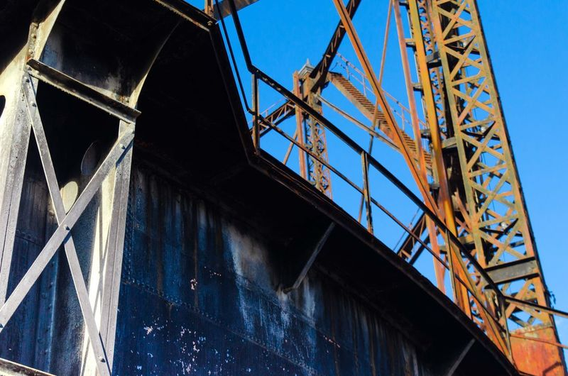 Gazi Athens Greece rusty steel Architecture Built Structure Low Angle View Metal Blue Bridge Sky No People Day Bridge - Man Made Structure Connection Outdoors Industry Nature Transportation Rusty Building Exterior Construction Industry Clear Sky Girder Alloy Steel