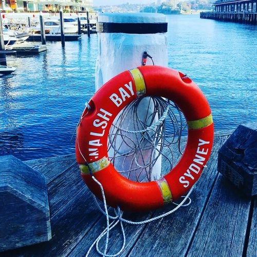 Sitting by the dock of the bay Sydney Walshbay Water Life Belt Circle Safety Geometric Shape Security Protection Rescue Buoy Outdoors