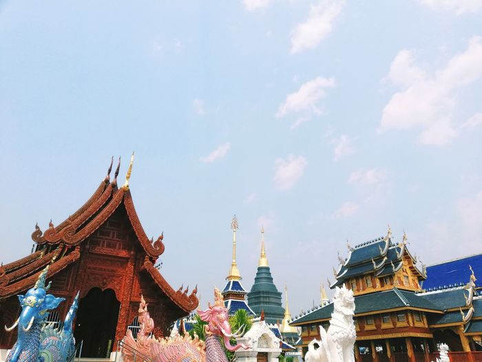 Low Angle View Of Colorful Temple Buildings Against Sky