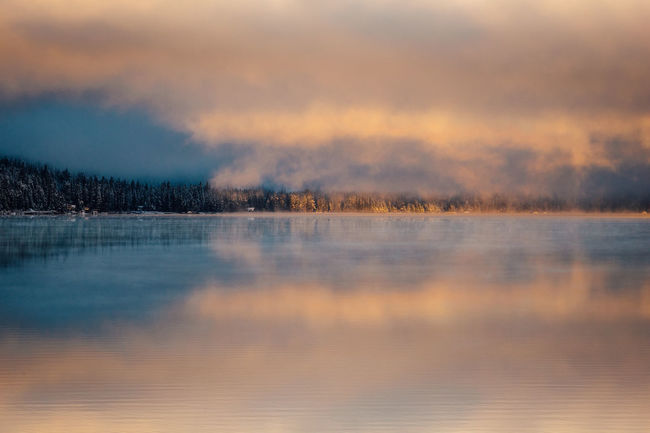 Winter sunrise at Donner Lake, California. California Calm Donner Lake Truckee  Beauty In Nature Cloud - Sky Cold Temperature Fog Lake Landscape Mountain Nature No People Outdoors Reflection Scenics Ski Sky Snow Sunrise Sunset Tranquil Scene Tranquility Water Winter