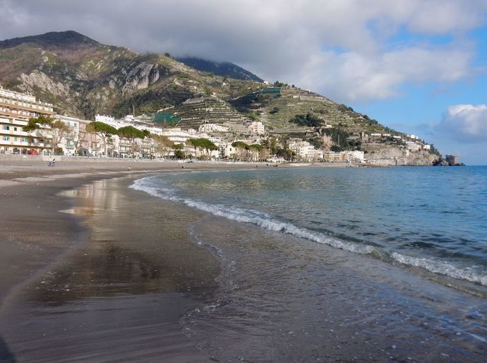 Water Sea Sky Beach Land Architecture Built Structure Mountain Cloud - Sky Nature Beauty In Nature City Building Exterior Scenics - Nature Day No People Building Outdoors Coastline Amalfi Coast