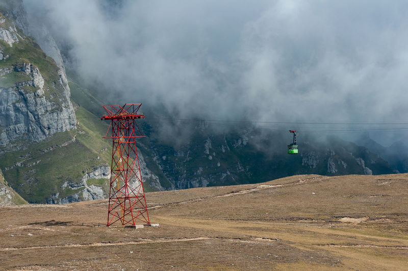 Landscape Mountain Scenics - Nature Nature Fog Environment Land Built Structure Outdoors Beauty In Nature Day No People Travel Destinations Cable Cable Car Transportation