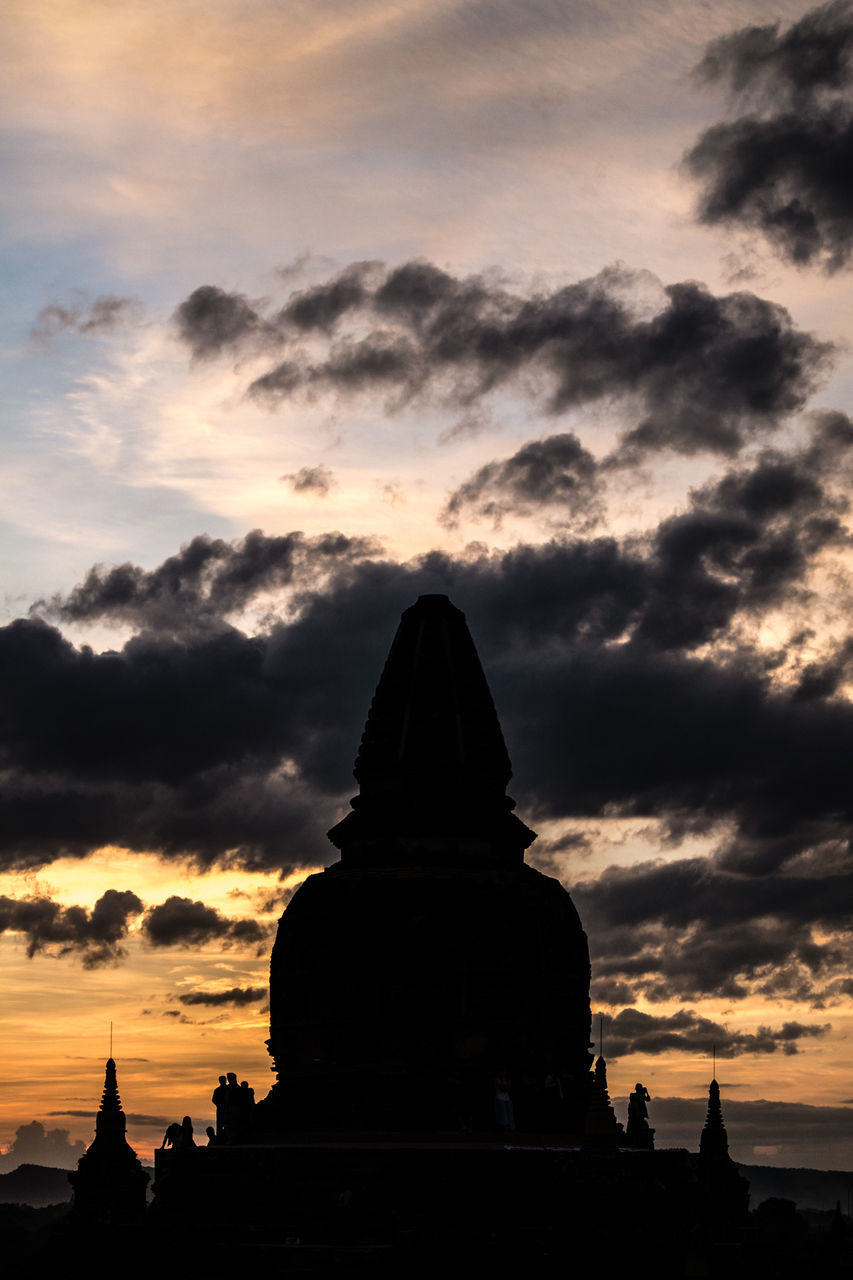 Silhouette Buddha Statue Against Cloudy Sky At Sunset