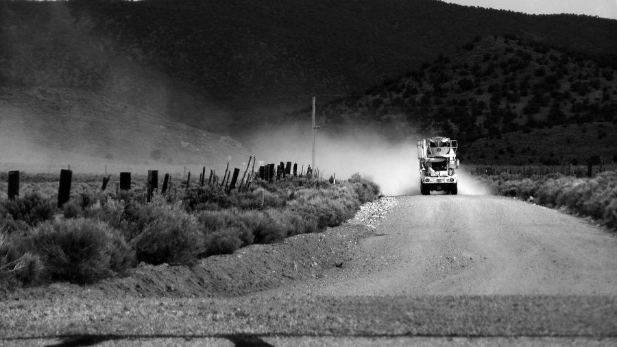 Blackandwhite Country Road Cruising Dusty Dusty Road Landscape No People Outdoors Rural Scene Taking Photos Truck Trucking