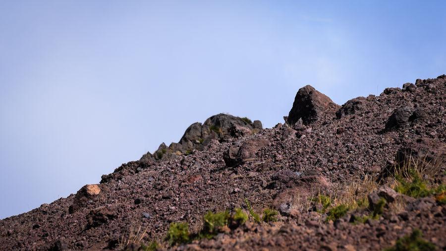 Low angle view of pico do arieiro at madeira island