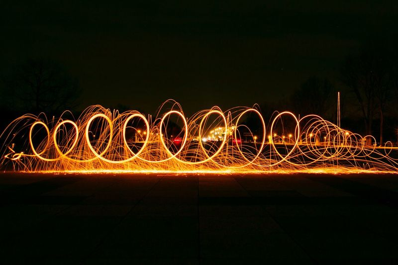 Wire wool on road at night