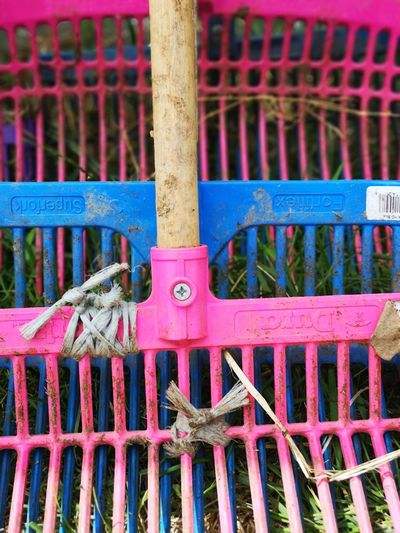 Barn still life Different Perspective Pink Color Blue Color Pink And Blue Rakes Colorful Rakes No People Unedited Color Photo Barn Still Life Beauty In Ordinary Things Beauty In Everything Metal Close-up Metal Grate The Mobile Photographer - 2019 EyeEm Awards
