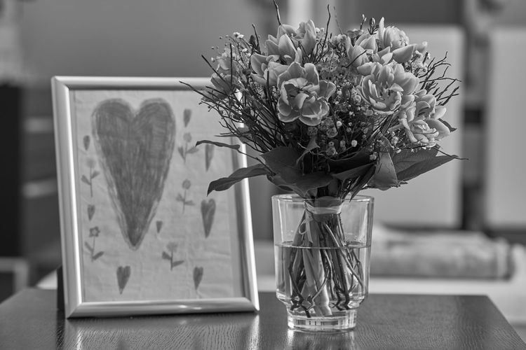 Archival Austria Black & White Blackandwhite Bouquet Child Drawing Close-up Day Desaturated February 2017 Flower Flower Arrangement Flowers And Hearts Greeting Card  Indoors  Love Nature No People Old-fashioned Postcard Styria Table Tulips Tulips Flowers Valantinesday