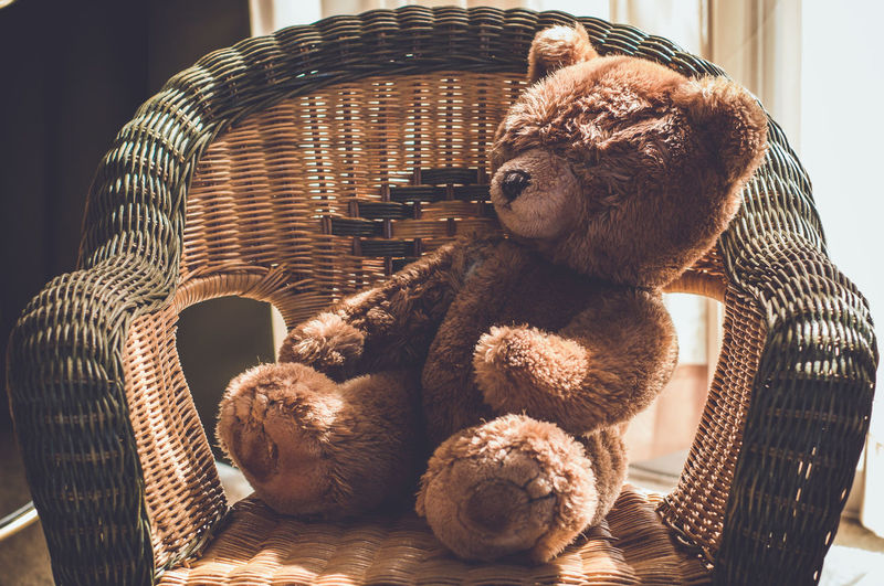 Stuffed teddy bear on chair at home
