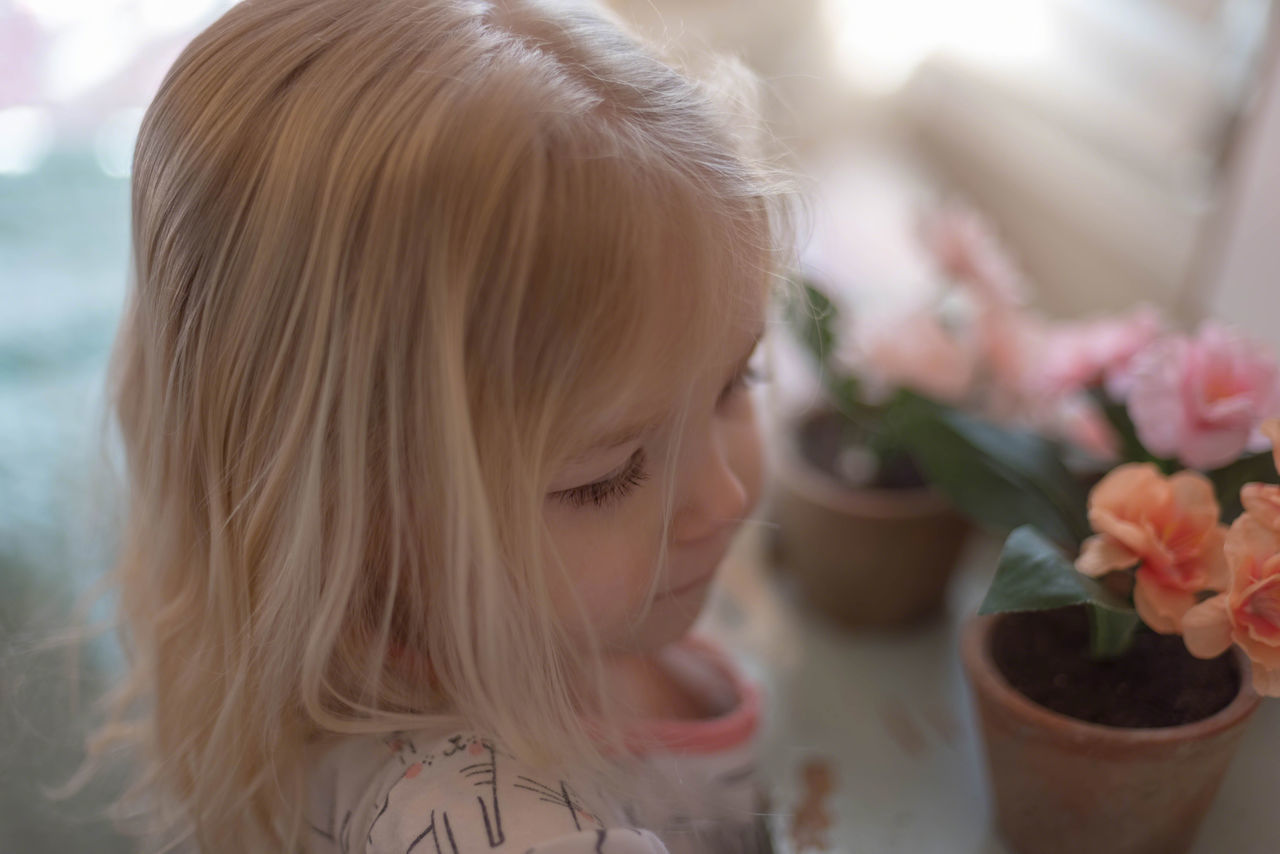 childhood, one person, blond hair, flower, real people, focus on foreground, indoors, headshot, girls, close-up, elementary age, lifestyles, day, freshness, people