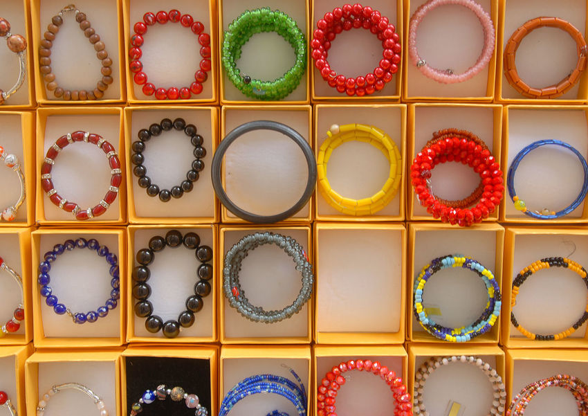 Colorful and exotic beads of Borneo made into beautifully fashionable bracelets viewed from high angle. Accesories Beads Beauty Bracelet Choice Close-up Colorful Craft Creative Day Fashion Full Frame Gift Handmade Handmade Jewellery High Angle View Indoors  Inspiration Jewelery Large Group Of Objects Multi Colored No People Souvenir Still Life Variation