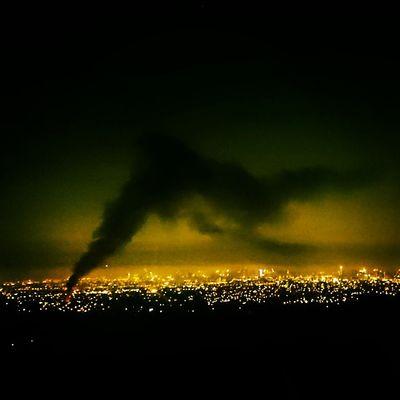 Fire in the Concrete Jungle Smoke Cityscape City Lights At Night Lostinph