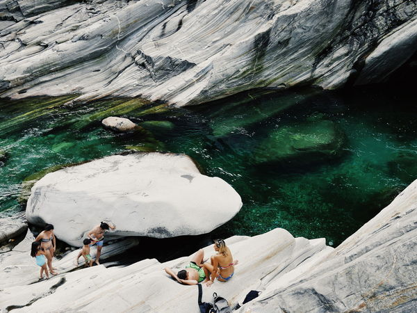 Outdoors Rock - Object Nature Day High Angle View Water Tranquility Relaxation Beauty In Nature Lavertezzo Switzerland Valle Verzasca Clear Water Swimming The Great Outdoors - 2018 EyeEm Awards