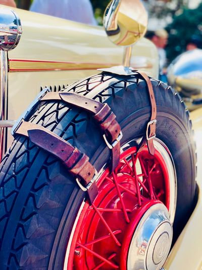 LUXURY SAFETY WHEEL Roue De Secours Roue à Rayons Leather Belt Leather Close-up Day Transportation No People Metal Focus On Foreground Mode Of Transportation Outdoors Safety Red Wheel Land Vehicle Machinery Detail Security Nature Protection Stationary Machine Part Motor Vehicle EyeEmNewHere