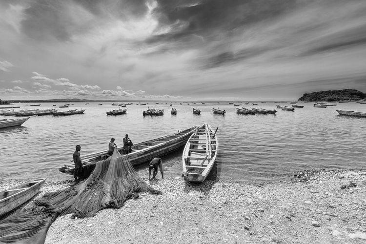 Africa Blackandwhite Photography Fishermen At Work Lake Tanganyka Tanzania