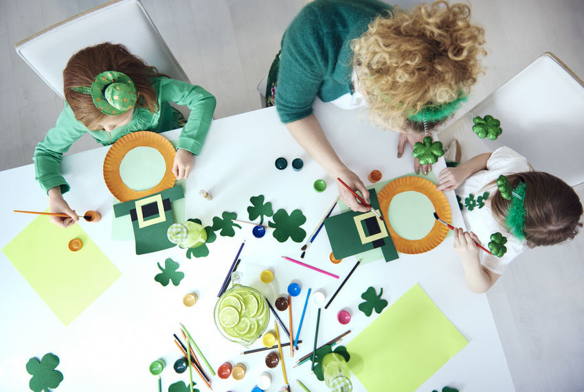 Clover From Above  Fun Green Green Color Kids Mother Mother & Daughter St Patrick's Day Decoration Kids Party Painting Party Playing Table
