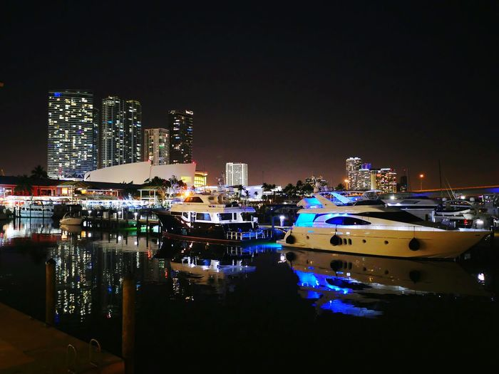 Yacht docked at Bayside in Miami. Check This Out Travel Photography Travel Yacht Harbor Miami Lumixlounge Night View Night Lights Blue Wave Cities At Night Feel The Journey