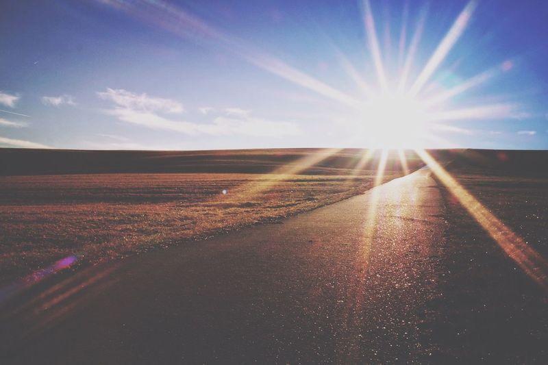 Road amidst agricultural landscape against sky during sunset
